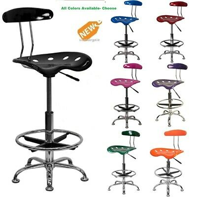 - Drafting Bar Stool Chair Adjustable Tractor Seat Pneumatic Chrome  Modern NEW