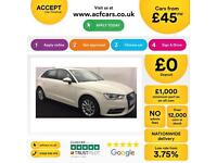 White AUDI A3 SALOON 1.2 1.4 1.6 1.8 2.0 TDI Diesel SPORT FROM £45 PER WEEK!
