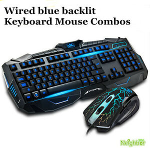 gaming backlit computer gamer wired usb blue backlight keyboard and mouse combos. Black Bedroom Furniture Sets. Home Design Ideas