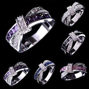 Women Mens Fashion White Gold Filled Cross Sapphire Band Ring Wedding Engagem