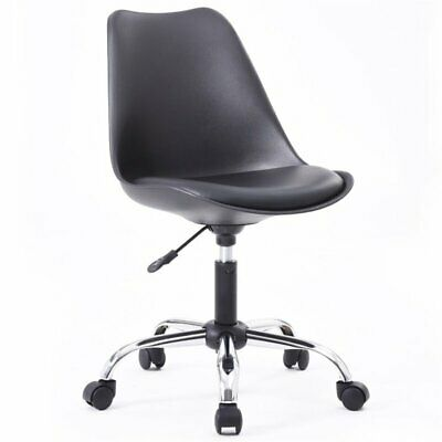 Hodedah Armless Office Chair With Seat Cushion In Black