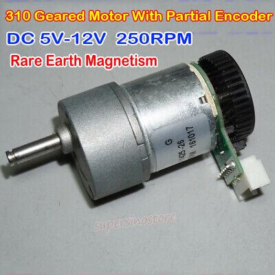 Dc 6v 9v 12v 250rpm Gm27 Gear Reduction Motor Rare Earth Strong With Encoder