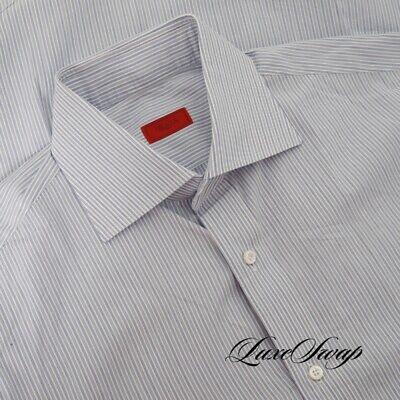 RECENT LNWOT Isaia Napoli White Blue Multi Stripe Button Down Dress Shirt Italy