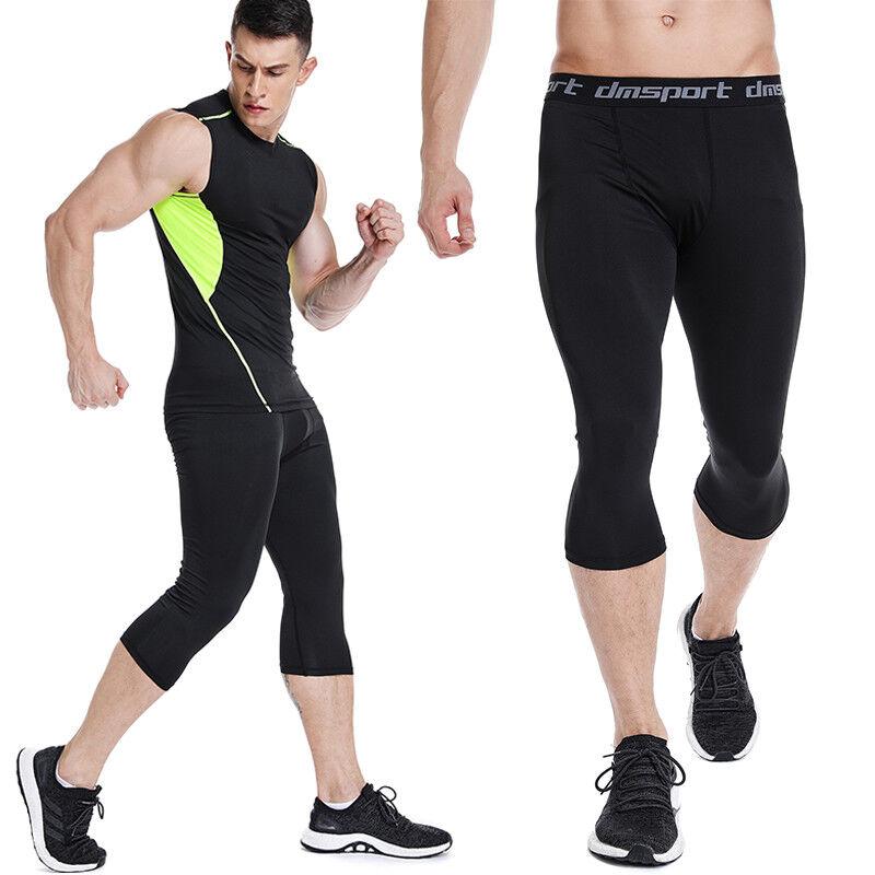 Men Compression Shorts 3/4 Cropped Pants Gym Clothes Base La