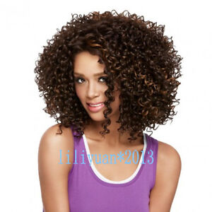 Fashion Ladies Short Brown mix Curly Women Natural Hair Wigs + wig cap gift