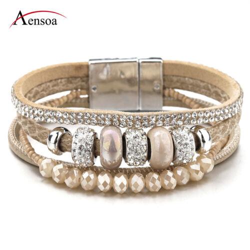 Fashion Women Bohemia Multilayer Leather Ceramic Rhinestone Beads Charm Bracelet