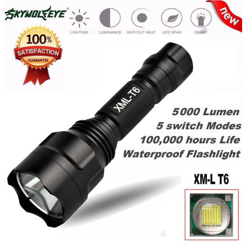 Outdoor 5000LM XML T6 LED 18650 Flashlight 5 Mode Electric T