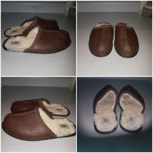 Uggs leather slippers (size 10 mens)