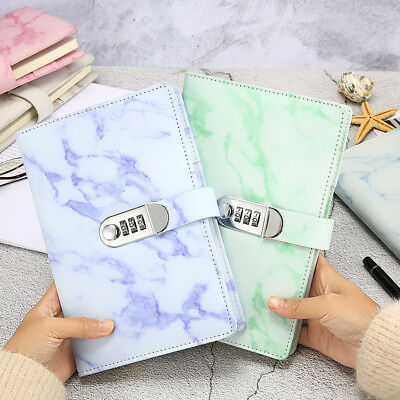 A5 Vintage Leather Marbling Diary Journal with Combinaton Password Lock Code