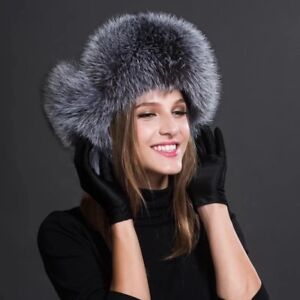 Premium quality fox fur aviator hat