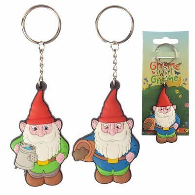 GNOME PVC KEYRING NOVELTY GIFT GARDEN BAG CHARM FUNKY CHRISTMAS STOCKING FILLER ()