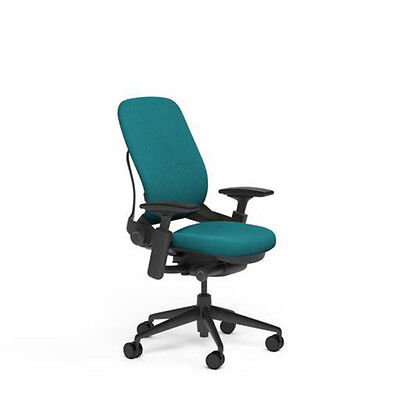 New Steelcase Adjustable Leap Desk Chair Buzz2 Cyan Fabric Seat - Black Frame