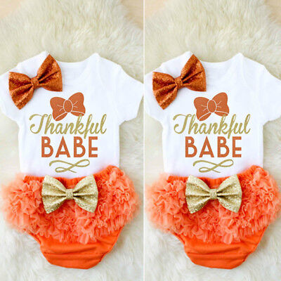 US Newborn Infant Baby Girl Outfits Clothes Romper Jumpsuit Bodysuit+Pants Set