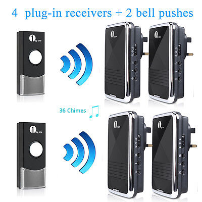 Mains Operated  Door Bell Plug-in Wireless Chime Ring 4 Receiver + 2 Bell Pushes