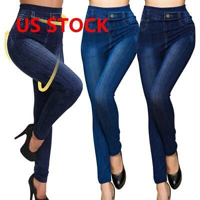 Women Stretch Pencil Pants High Waist Skinny Jeggings Jeans Casual Slim Trousers ()