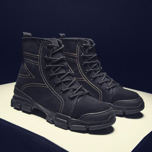 Men Lace Up Comfort Motorcycle Riding Ankle Boots Outdoors C