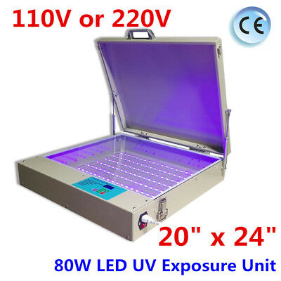 Tabletop Precise 20 X 24 80w Led Uv Exposure Unit Screen Printing Equipment