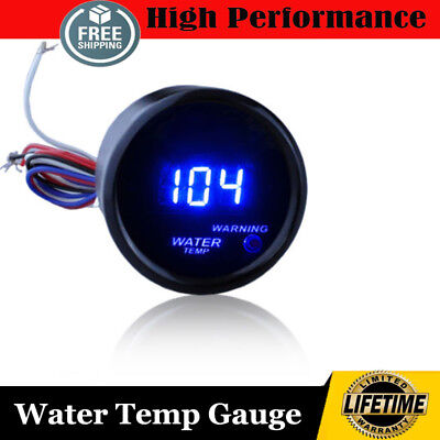 "2"" 52mm Water Temp Gauge Temperature Meter With Sensor Blue LCD Display"