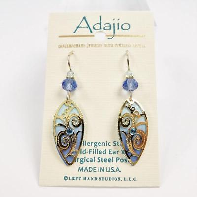 - Adajio Earrings Light Blue Pointed Oval with Gold Plated Floral Overlay Handmade