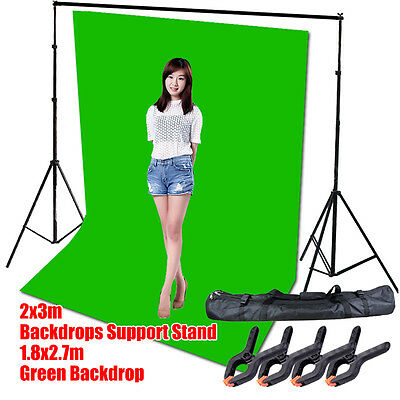 (Photo Screen Chromakey Green Muslin Backdrop Studio Background Support Stand Kit)