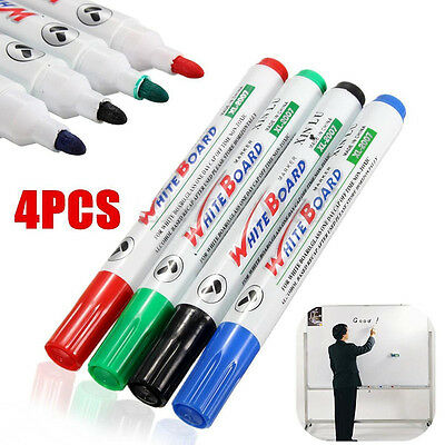 4pcs Whiteboard 4 Colors Marker Pens White Board Dry-erase Marker Fine 2mm Nib