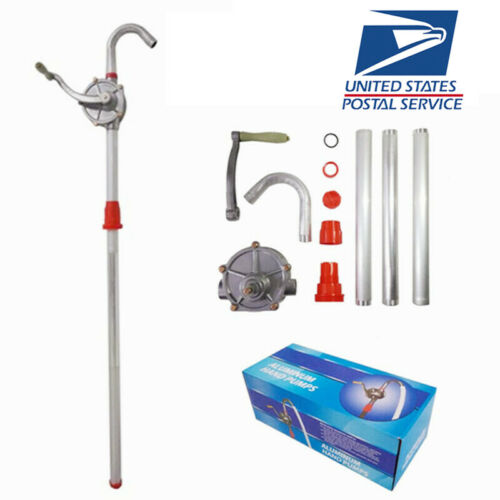 10 GPM Aluminum Rotary Gas Oil Fuel Hand Pump 55 Gallons Self Priming Dispenser