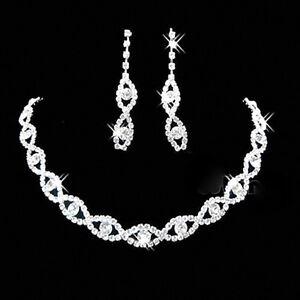 e06f75682 Bridal Wedding Jewelry Set Crystal Rhinestone Diamante Necklace & Earrings  Party