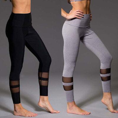 Women Yoga Fitness Leggings Gym Stretch Sports High Waist Pants Trousers US