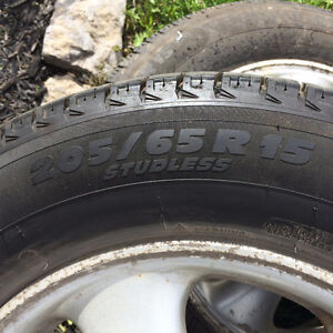 Excellent condition Michelin XIce winter tires on rims 205/65R15 Peterborough Peterborough Area image 2