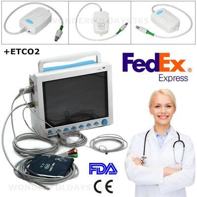 Capnograph Etco2 Patient Monitor Vital Signs Ecg Nibp Spo2 Temp Resp Pr Machine