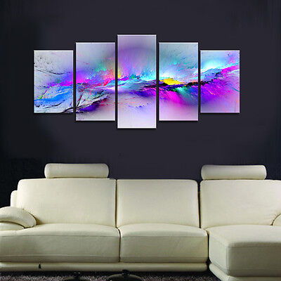Abstract Canvas Art Print Photo Picture Wall Home Decor Poster Purple Paintings