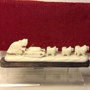 Antique Inuit Eskimo Carving of Inuit Family and Dog Sled Team W