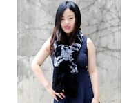 DAYMISFURRY--Rex Rabbit Fur Knitted Scarf In Black