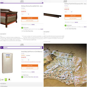 4 Stage Convertible Crib + Conversion Kit + Crib Mattress