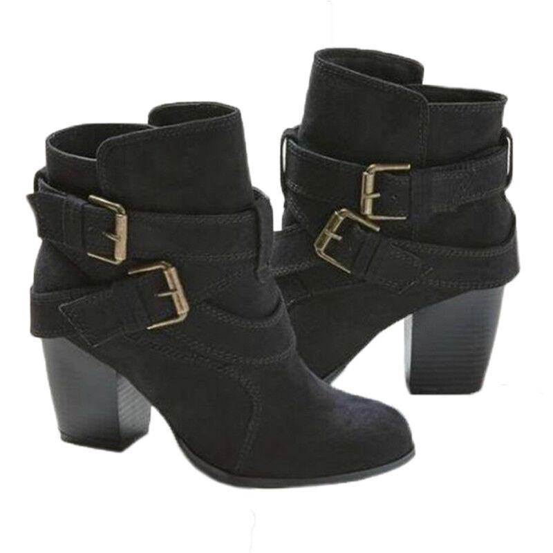 Damen Stiefel Stiefeletten Ankle Boots Mitte Blockabsatz Freizeit Schuhe Pumps