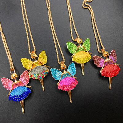 (Cute Crystal Enamel Ballet Dancer Fairy Angel Pendant Chain Necklace/Brooch Pin)