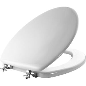 Mayfair 144CP 000 Molded Wood Toilet Seat with Chrome Hinges