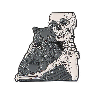 Cat and Skeleton Enamel Pin Ghost Hugging Kitty Brooch Dark Badge Halloween Gift - Halloween Pins And Brooches