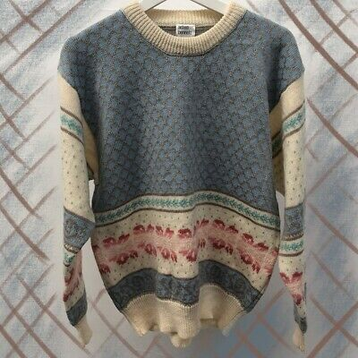 Vintage 90s Floral Pastel Wool Mix Jumper Size L