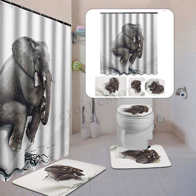 4PCS Elephant Waterproof Bathroom Curtain Toilet Cover Mat Non-Slip Rug Set Home
