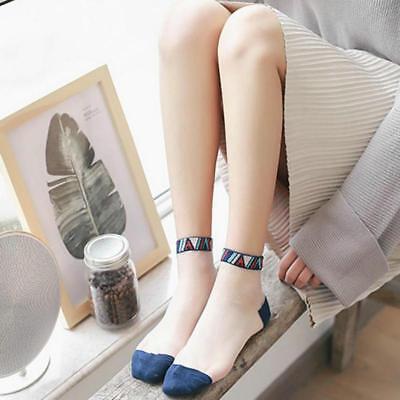 Frauen Seide Stricken (Neue Frauen Socken Mode Stricken Seide Transparent Kristall Elastische Spitze)