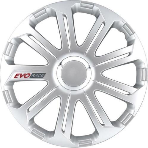 4 Delige Wieldoppen Evo Race 13 Inch Zilver Chroom Ring Logo