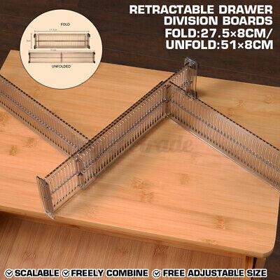 2X Adjustable Drawer Dividers Organiser Socks Make Up Plastic Closet Separators