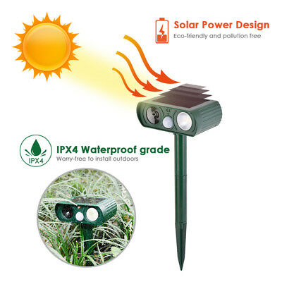 Solar Outdoor Ultrasonic Pest Animal Repeller Garden Cat Dog Fox Repellent IPX4