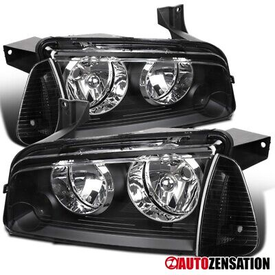 For 2006-2010 Dodge Charger Black Headlights+Corner Turn Signal Lamps Pair