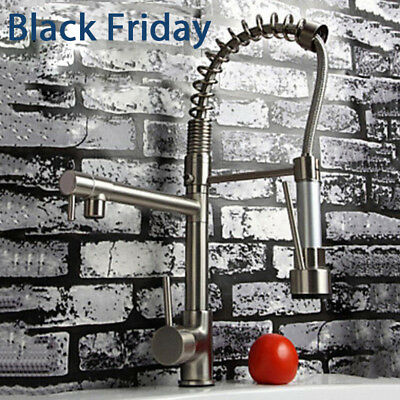 - ULGKSD Brushed Nickel Kitchen Faucet Pull Down Spray Sink Single Hole Mixer Tap