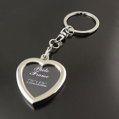 Metal Heart Insert Photo DIY Picture Frame Custom Keyring Keychain Key -