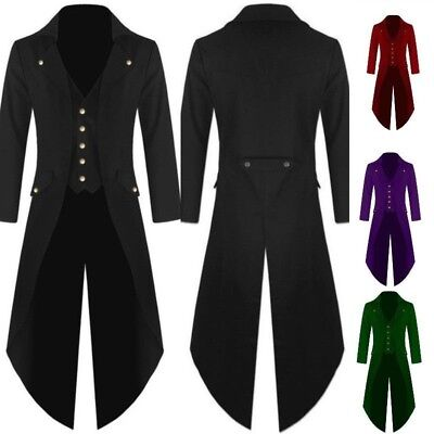 Vintage Mens Steampunk Victorian Swallow Tail Long Trench Coat Jacket