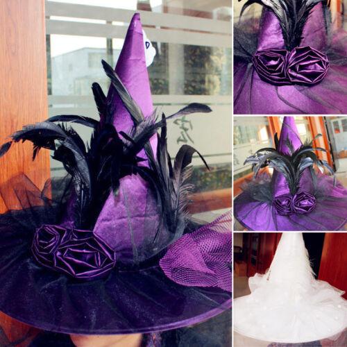 Women Girls Witch Hat Adults Costume Accessory Halloween Fan