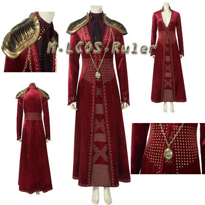 Hot Game of Thrones Season 8 Costume Queen Cersei Lannister Cosplay Halloween  (Cersei Lannister Halloween Costumes)